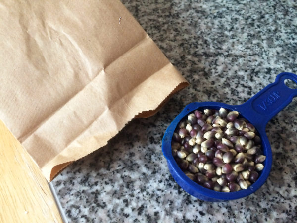 This image shows a brown paper bag and a blue measuring cup with popcorn kernels to illustrate this post on how to make homemade popcorn in the microwave.