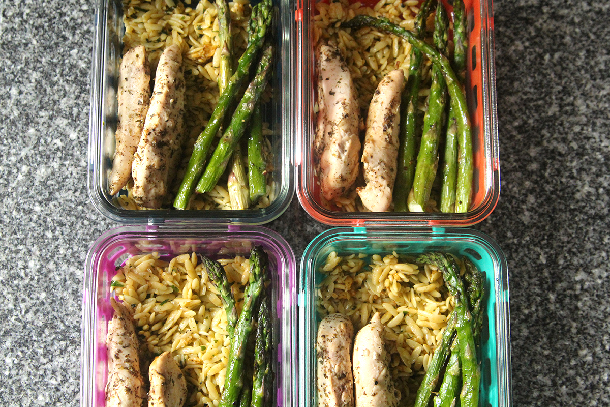 Meal Prep Souvlaki Chicken and Orzo with Asparagus